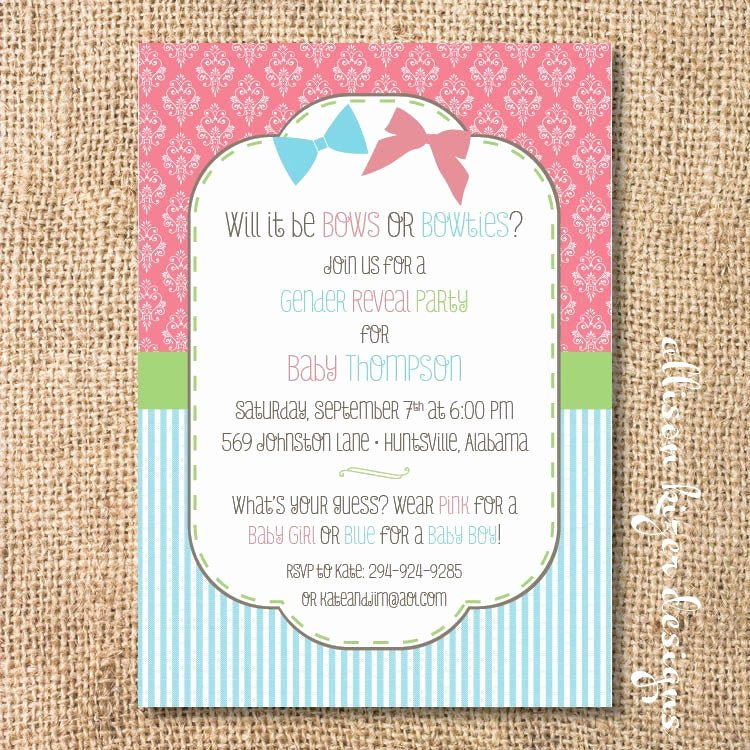 Gender Reveal Party Invitation Wording Awesome Gender Reveal Invitation Bows or Bowties Bow or Beau Printable