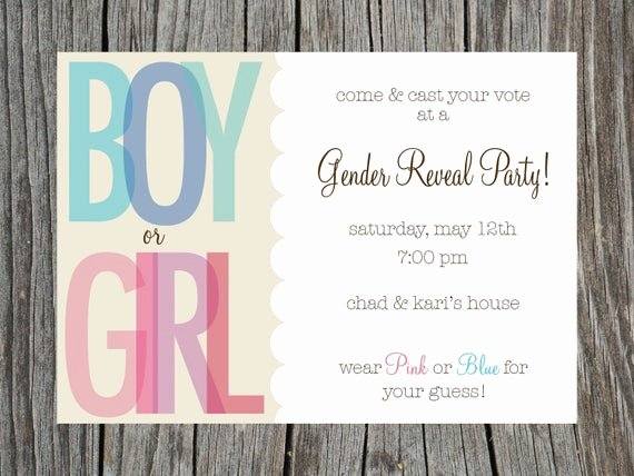 Gender Reveal Party Invitation Wording Awesome Items Similar to Gender Reveal Party Invitation Printable On Etsy
