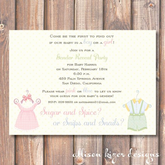 Gender Reveal Party Invitation Wording Beautiful Items Similar to Gender Reveal Invite Sugar and Spice or Snips and Snails Vintage Style