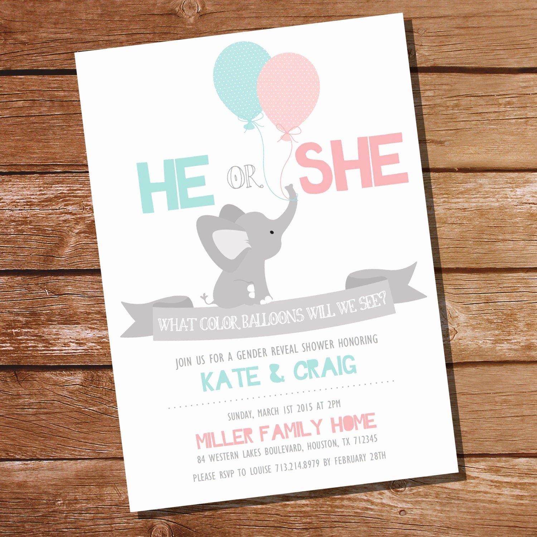 Gender Reveal Party Invitation Wording Best Of He or She Gender Reveal Party Invitation Elephant Gender