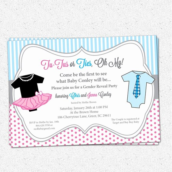 Gender Reveal Party Invitation Wording Inspirational Tutus or Ties Gender Reveal Baby Shower Party Invitation