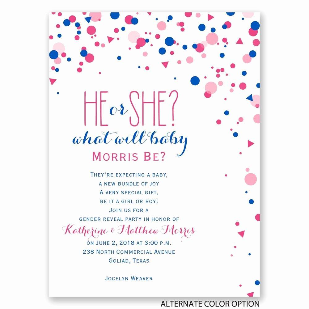 Gender Reveal Party Invitation Wording Lovely Pretty Confetti Petite Gender Reveal Invitation