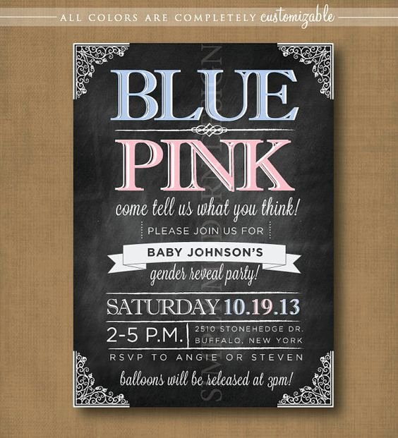 Gender Reveal Party Invitation Wording Luxury Chalkboard Gender Reveal Party Invitation Printable Party Ideas Pinterest