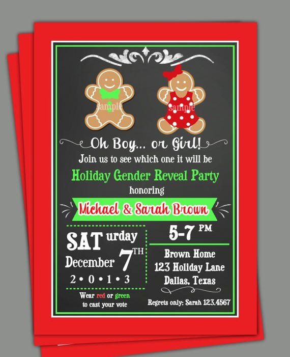 Gender Reveal Party Invitation Wording Luxury Christmas Gender Reveal Invitation Printable or Printed with