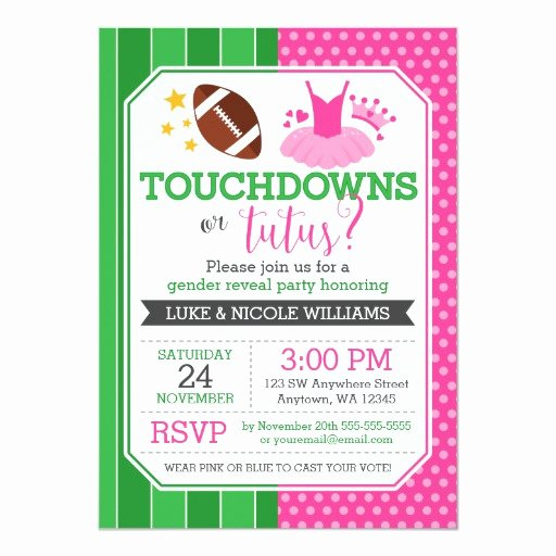 Gender Reveal Party Invitation Wording Luxury touchdowns or Tutus Gender Reveal Party Card