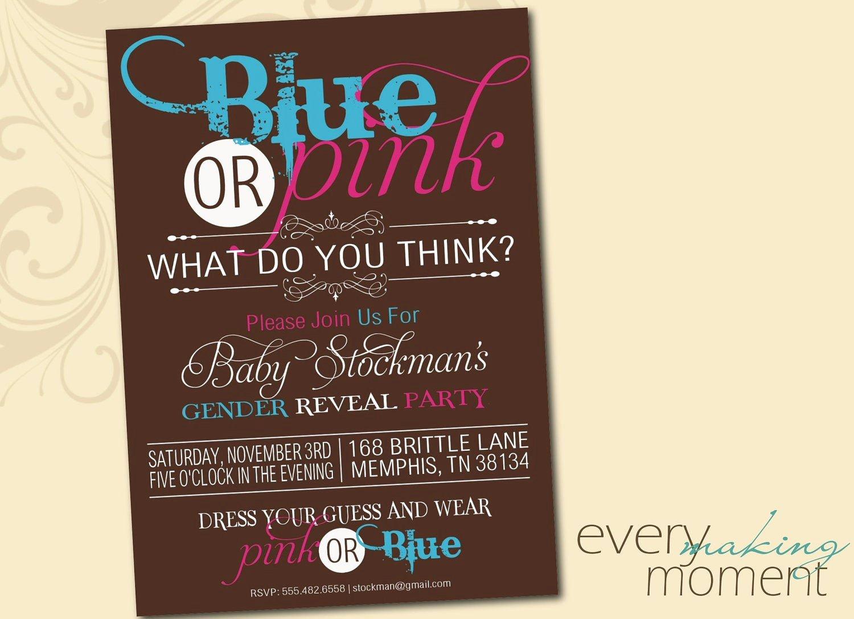 Gender Reveal Party Invitation Wording Unique Gender Reveal Party Invitation Digital Custom Printable