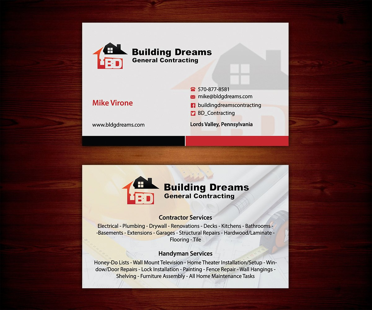 General Contractor Business Cards Beautiful Building Business Card Design for Building Dreams General
