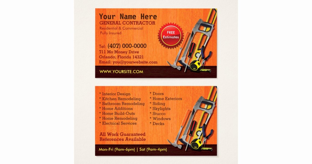 General Contractor Business Cards Fresh General Contractor Handyman Business Card Template