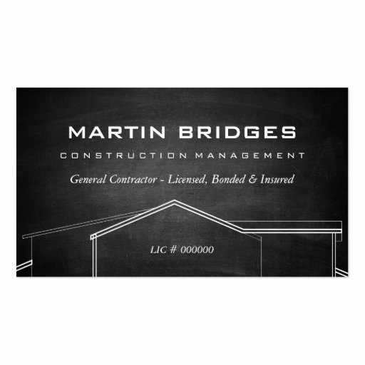 General Contractor Business Cards Fresh Modern General Construction Chalk Business Cards