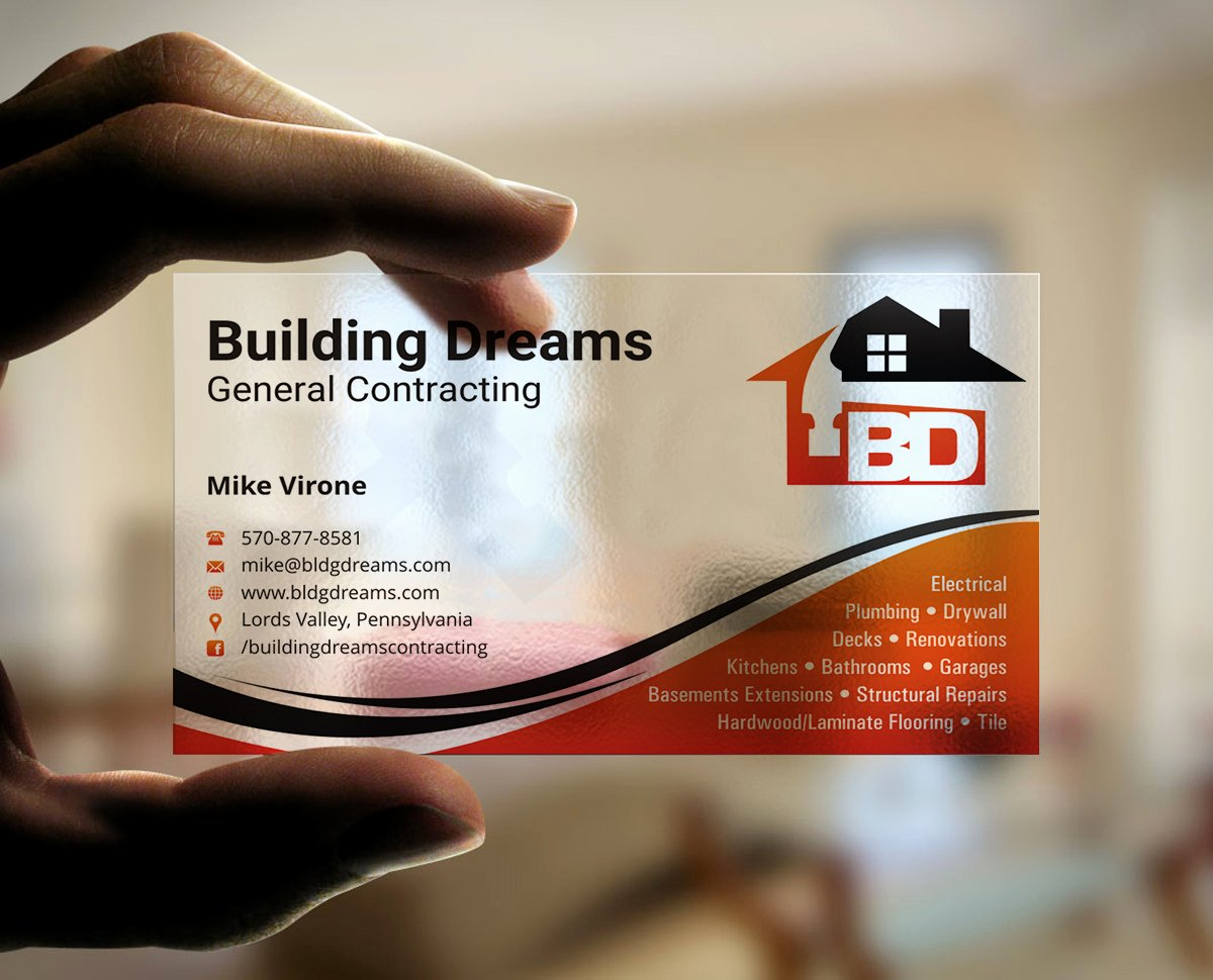 General Contractor Business Cards Lovely Building Business Card Design for Building Dreams General