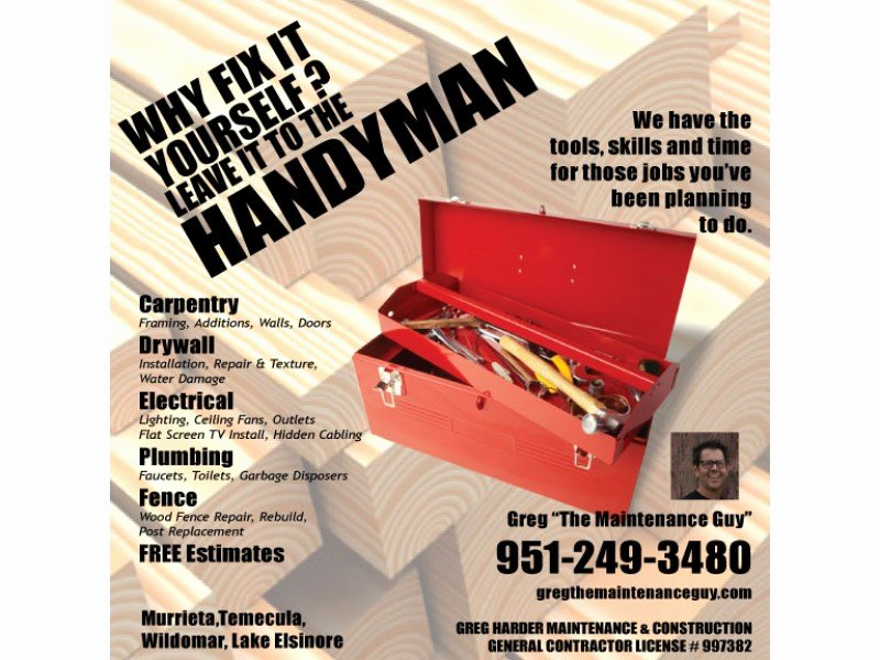 General Contractor Business Cards Luxury General Contractor Handyman Greg the Maintenance Guy