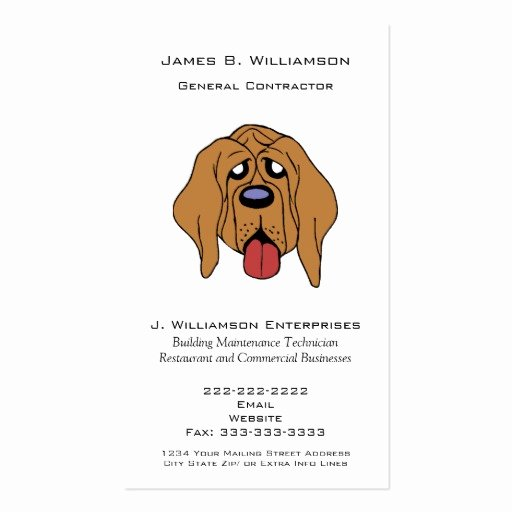 General Contractor Business Cards New Funny Hound Dog General Contractor Simple Generic Business