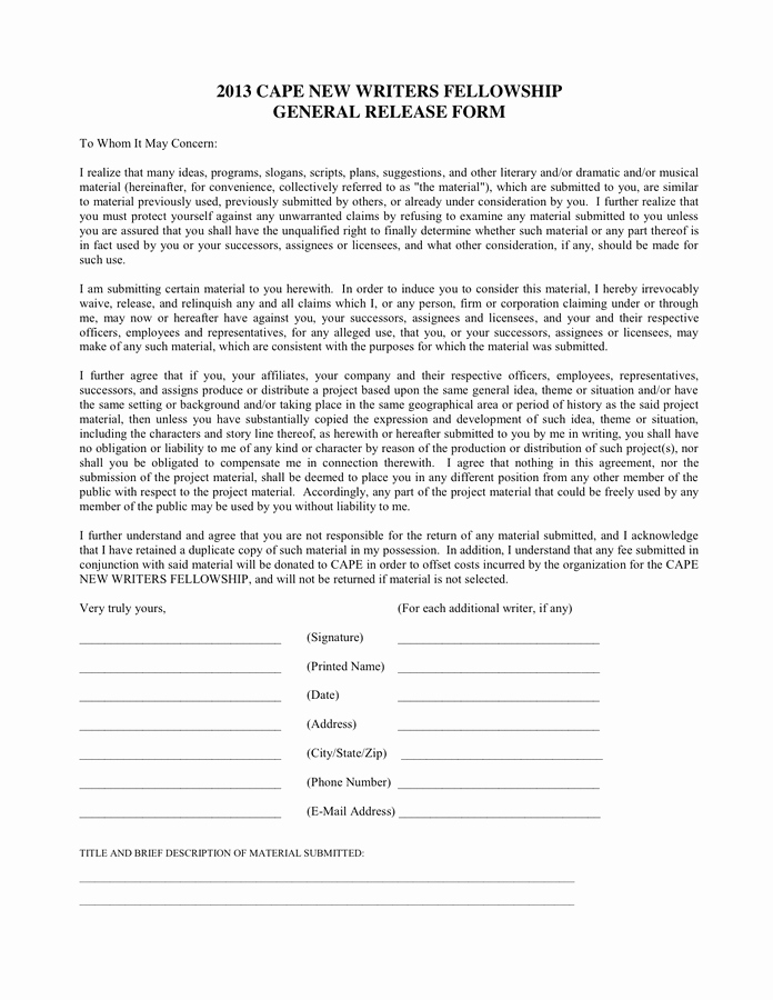 General Media Release form Elegant General Release form In Word and Pdf formats
