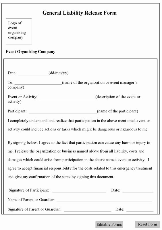 General Media Release form Elegant Printable Sample Release and Waiver Liability Agreement form forms