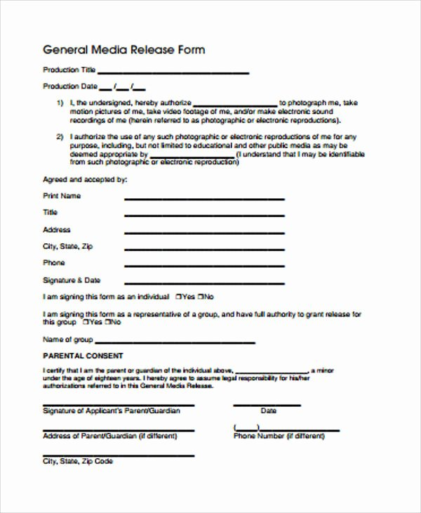 General Media Release form Inspirational General Release form Sample 8 Examples In Word Pdf
