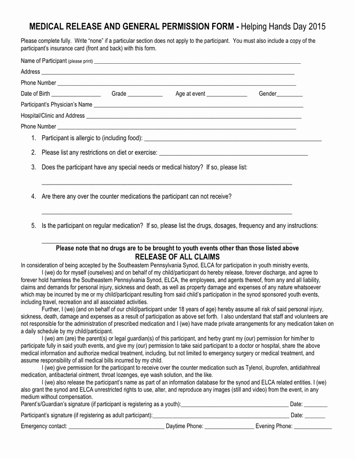 General Media Release form Inspirational Medical Release and General Permission form In Word and Pdf formats