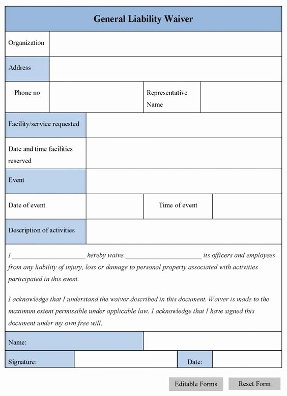 General Media Release form Inspirational Printable Sample Release and Waiver Liability Agreement form