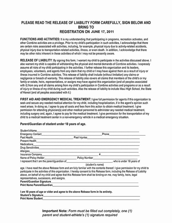General Media Release form Unique Coaching Release Of Liability Maui Football Bine 2011 Release Of Liability form