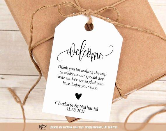 """Gift Bag Tag Template Inspirational Wel E Wedding Tags Printable Wedding Wel E Favor Tag Template 2 75 X 4"""" Tags Hotel"""