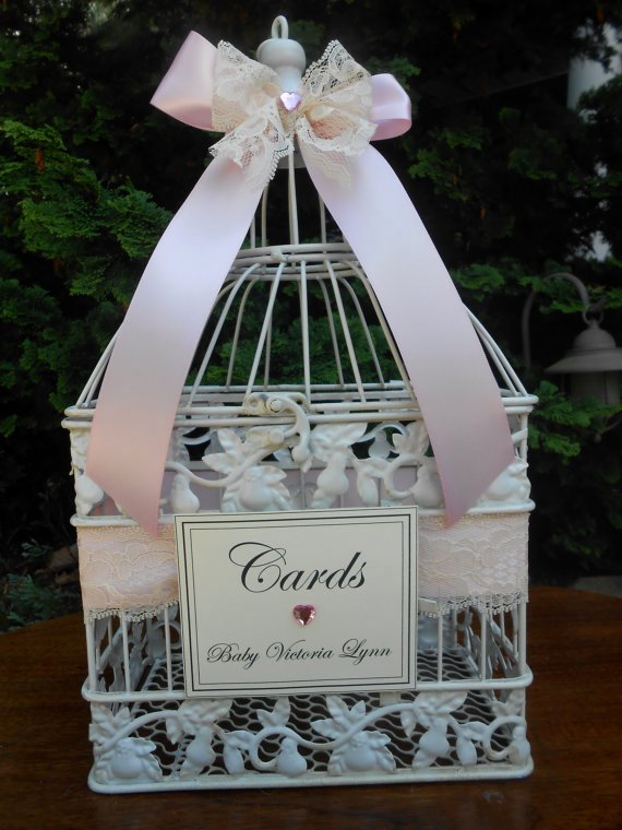 Gift Card Baby Showers Inspirational Items Similar to Pink Baby Shower Card Holder Birdcage Card Holder Card Box It S A Girl