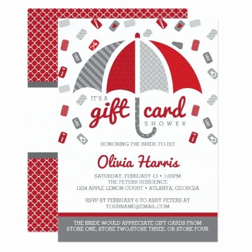 Gift Certificate Wording Examples Best Of Gift Card Bridal Shower Invitation Red Gray
