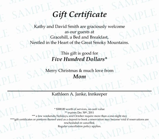 Gift Certificate Wording Examples Best Of Gift Certificates Gracehill Bed and Breakfast