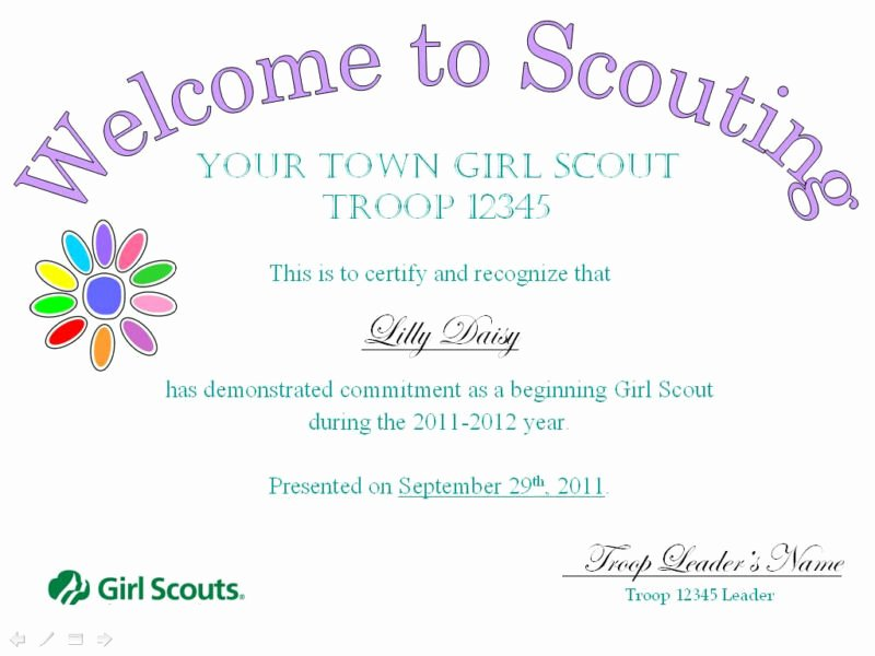 Girl Scout Bridging Certificate Beautiful Girl Scout Wel E Investiture Bridging Certificates