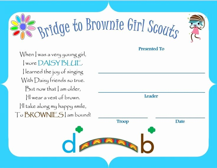 Girl Scout Bridging Certificate Elegant Bridging From Daisy to Brownie Certificate Google Search Daisies Pinterest