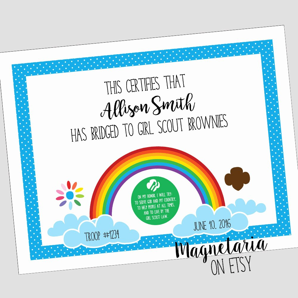 Girl Scout Bridging Certificate Elegant Girl Scout Bridging Certificate Daisies to Brownies