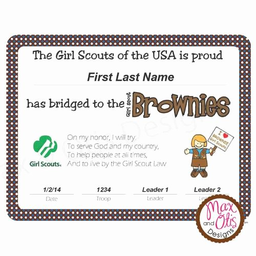 Girl Scout Bridging Certificate Fresh Girl Scout Brownie Printable Bridging Certificate Editable Pdf – Max & Otis Designs
