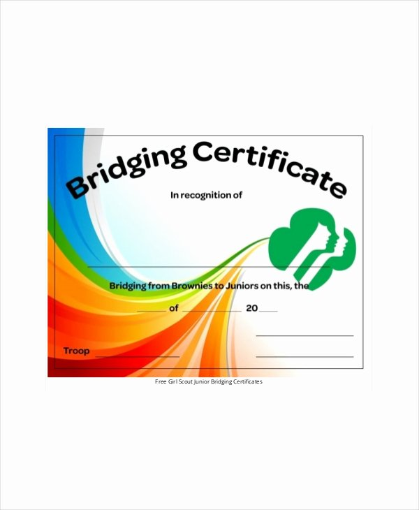 Girl Scout Bridging Certificate Lovely Girl Scout Certificate Template 5 Free Pdf Documents Download