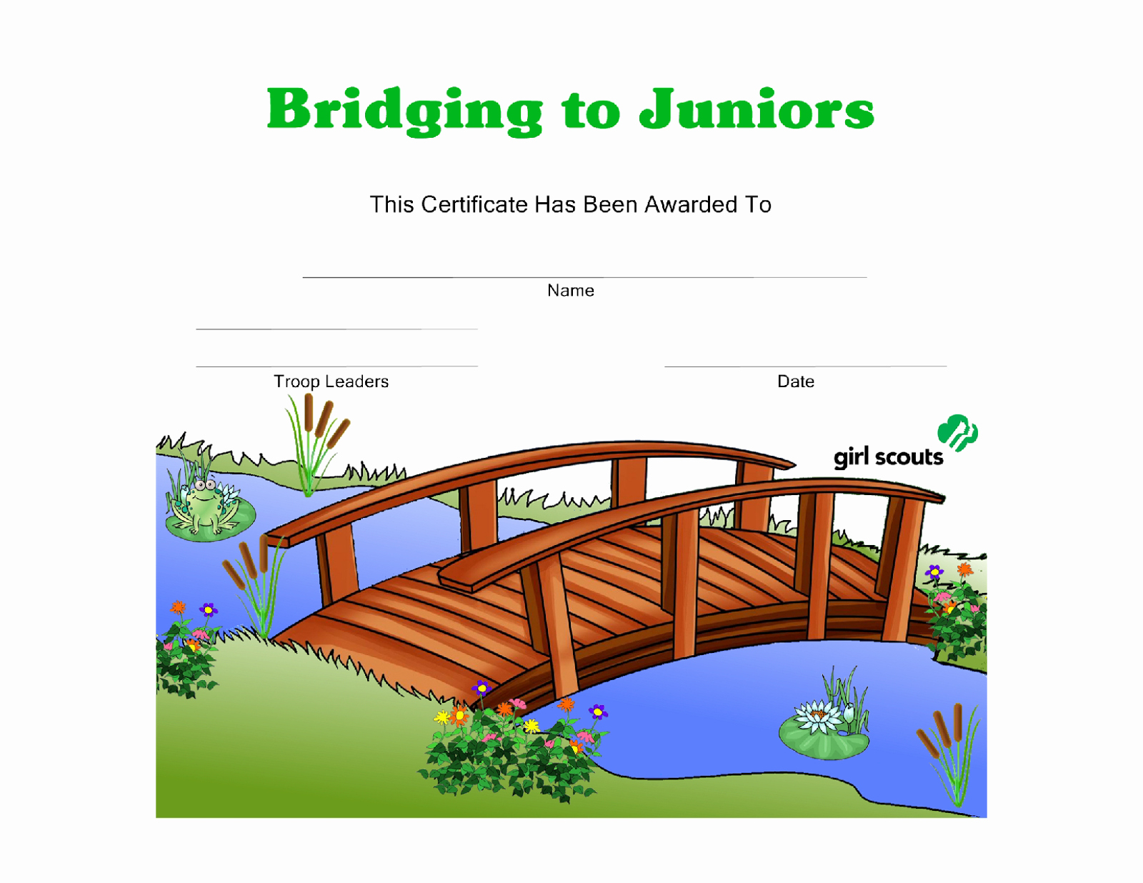 Girl Scout Bridging Certificate Lovely Girl Scout Printables Bridging to Juniors Certificate