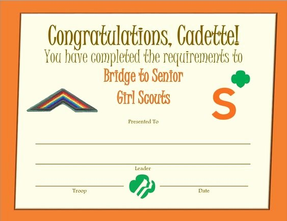 Girl Scout Bridging Certificate New Cadette Bridge to Senior Girl Scouts Award Certificate Senior Girl Scouts Pinterest