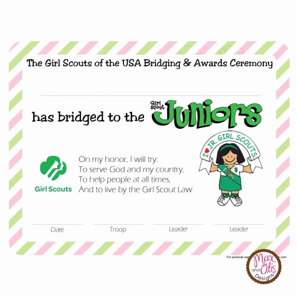 Girl Scout Bridging Certificate New Girl Scout Junior Printable Bridging Certificate Editable Pdf – Max & Otis Designs