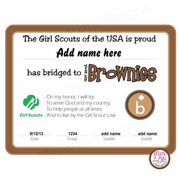 Girl Scout Bridging Certificate Unique Girl Scout Brownie Printable Bridging Certificate Editable Pdf – Max & Otis Designs