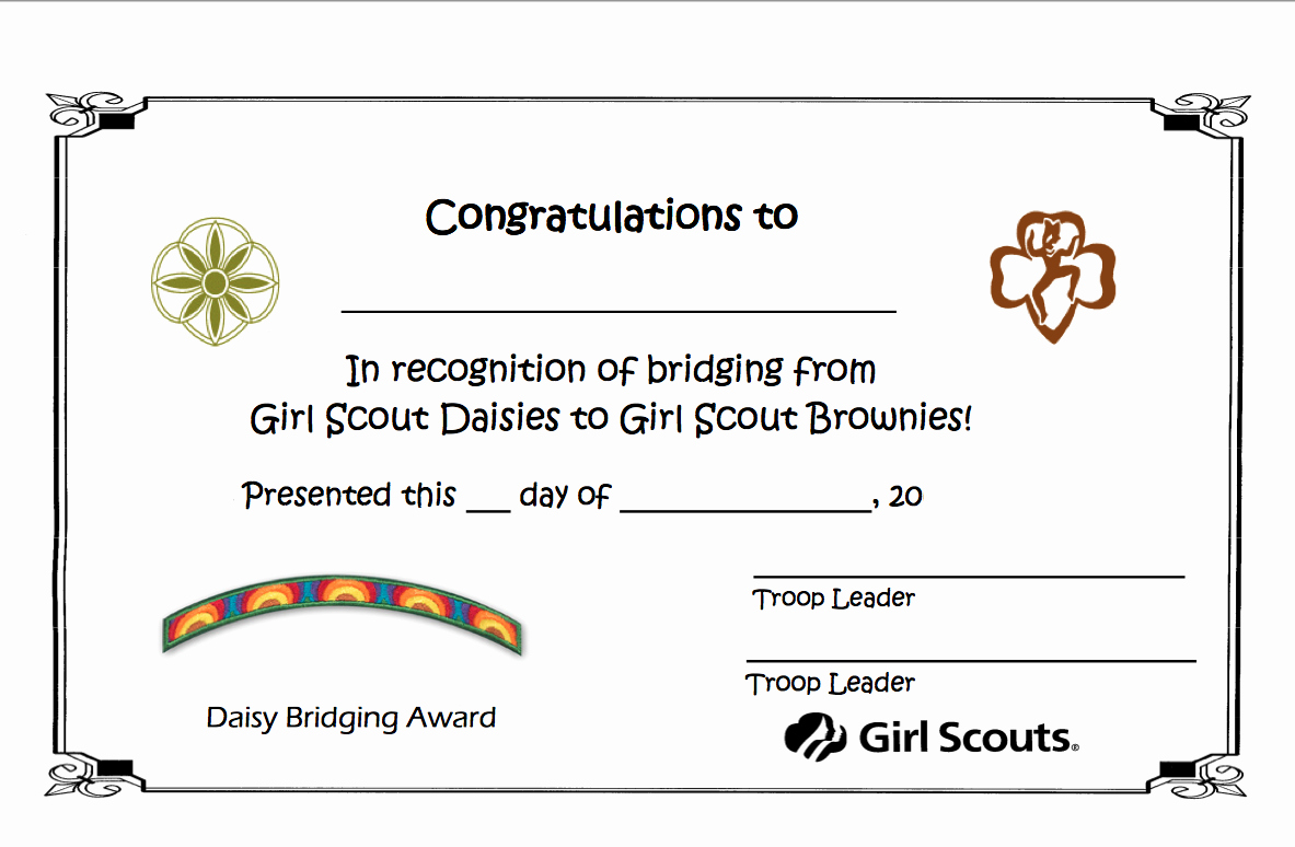 Girl Scout Bridging Certificates Awesome Girl Scout Troop 1138 Bridge to Brownies