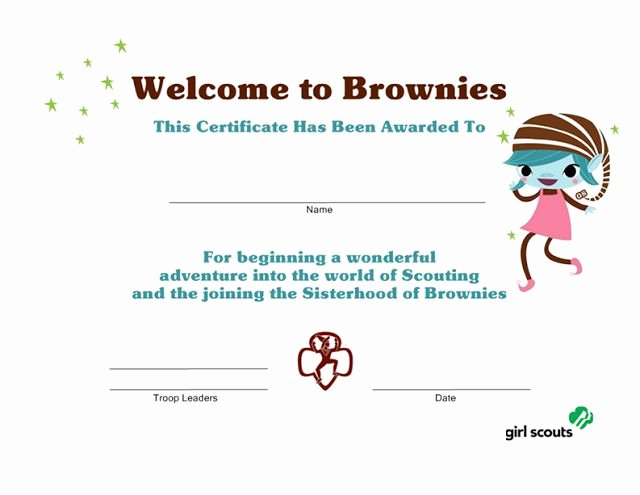 Girl Scout Bridging Certificates Beautiful Girl Scout Printables Wel E to Brownies Certificate Girl Scouts Pinterest