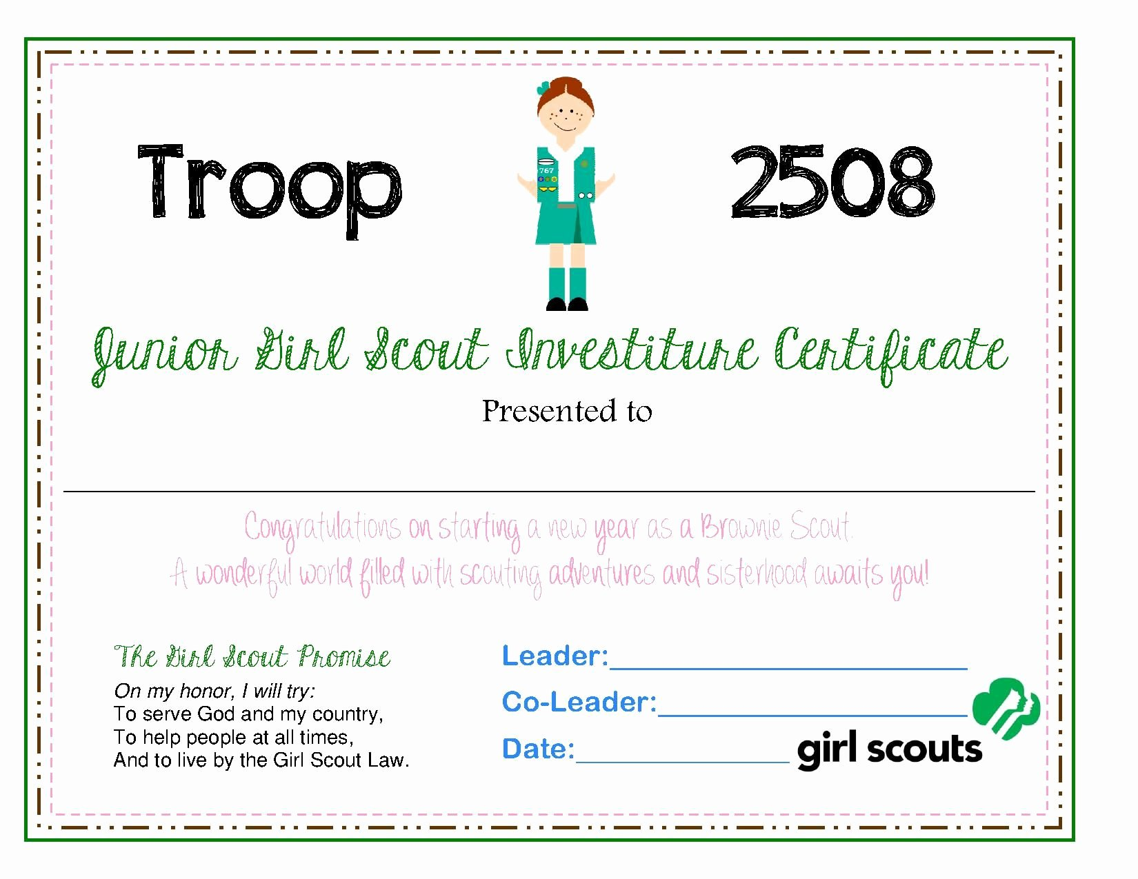 Girl Scout Bridging Certificates Best Of Junior Investiture Certificate Scout Shtuff