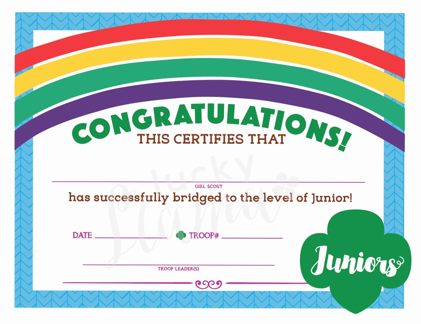 Girl Scout Bridging Certificates Elegant Girl Scouts Bridge to Juniors Certificate Instant Download