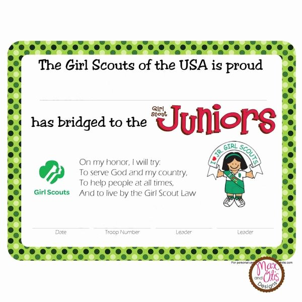 Girl Scout Bridging Certificates Inspirational Girl Scout Junior Printable Bridging Certificate Editable Pdf – Max & Otis Designs