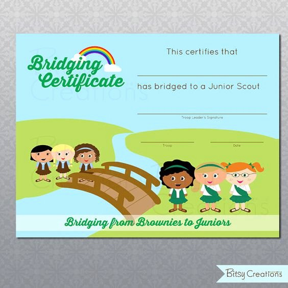 Girl Scout Bridging Certificates Luxury Printable Bridging Certificate Girl Scouts Digital File Brownies to Juniors You Fill In the