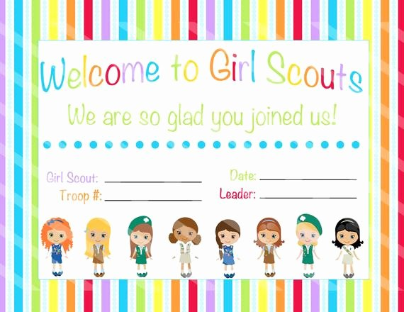 Girl Scout Bridging Certificates Luxury Scout Certificate Scout Wel E Scout Troop by Otpartyprintables