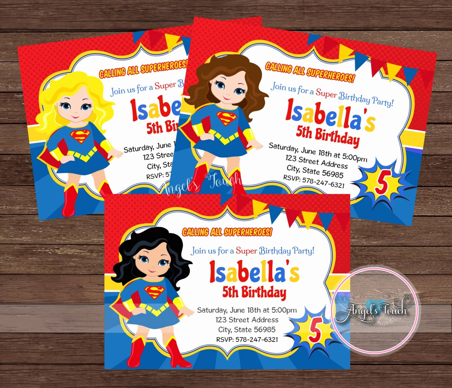 Girl Superhero Birthday Invitations Awesome Superhero Super Girl Party Invitation Super Girl Invitation