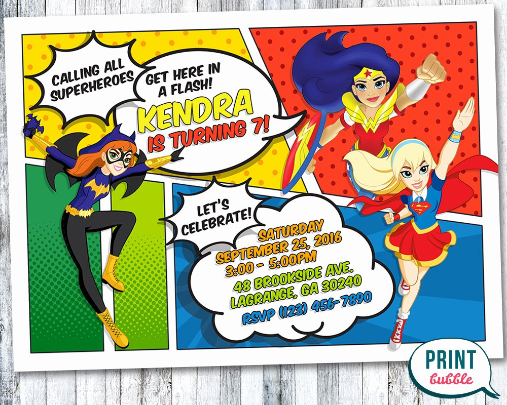 Girl Superhero Birthday Invitations Beautiful Dc Superhero Girls Invitation Dc Superhero by