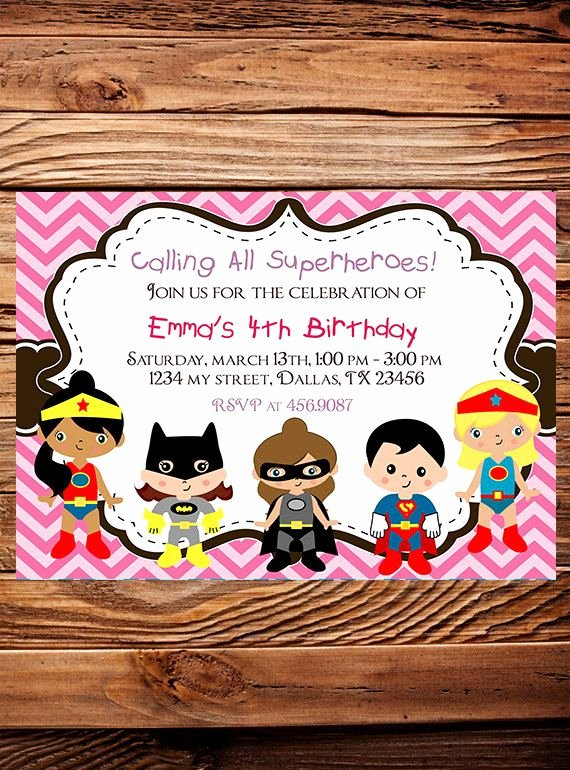 Girl Superhero Birthday Invitations Best Of Superheroes Birthday Party Invitation Girl Boy Heroes