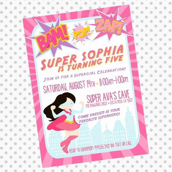 Girl Superhero Birthday Invitations Elegant Custom Supergirl Birthday Invite Superhero by