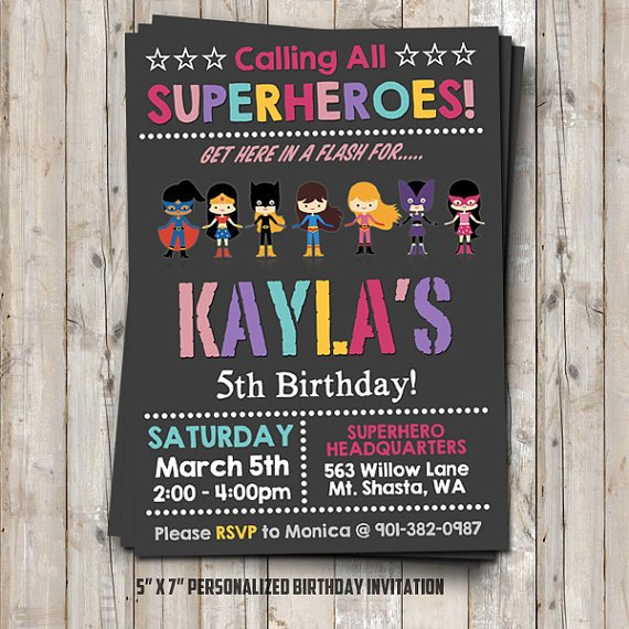 girl superhero birthday invitation
