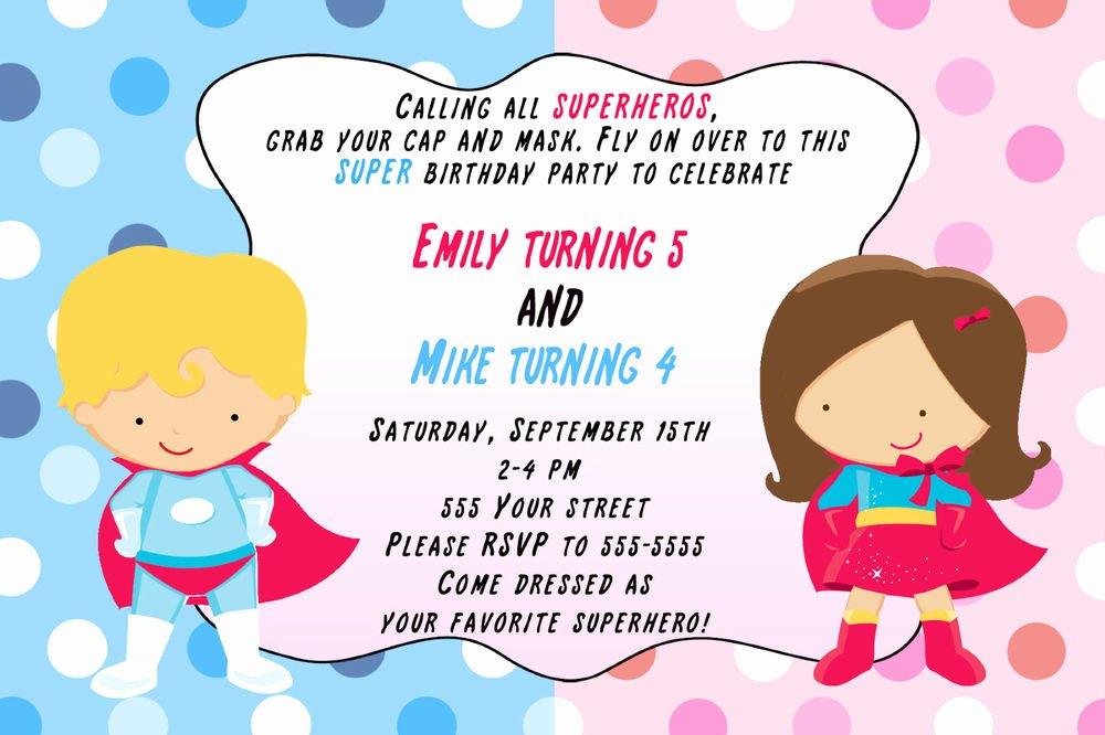 Girl Superhero Birthday Invitations Fresh 30 Superhero Invitation Cards Super Heroes Girl Boy