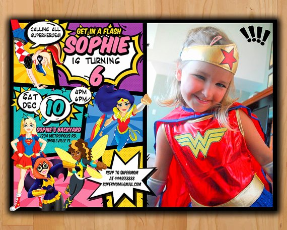 Girl Superhero Birthday Invitations Fresh Superhero Girls Invitation Dc Superhero Girls Invite Dc