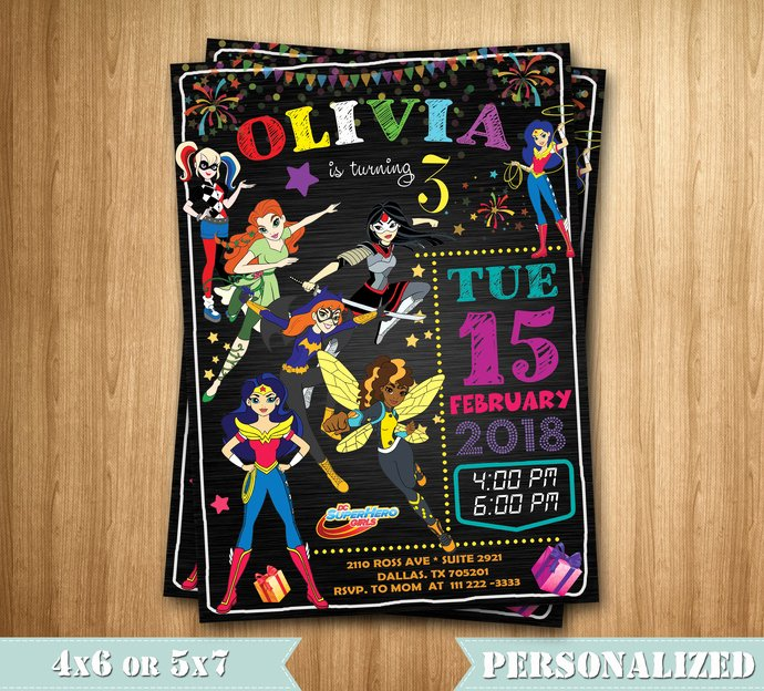 Girl Superhero Birthday Invitations Lovely Dc Superhero Girls Invitation Superhero Girls by